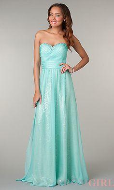 Mint Green Strapless Sweetheart Floor Length Dress at PromGirl.com $169.00