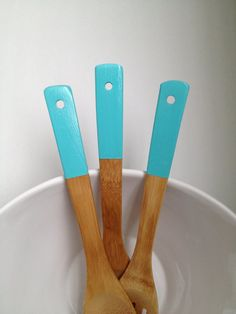 Teal Painted Bamboo Wood Utensils  Set of by DesignerDwellings, $14.00