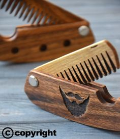 Folding comb Walnut Beard comb Personalized custom engraved wooden comb For men him. Fear the beard. Beard comb moustache comb hair comb folding comb wooden comb custom engraved walnut comb wood comb Enjoythewood handmade comb beard comb hair comb men gift idea for dad lumberjack personalized comb 19.99 USD #goriani