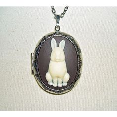 SITTING BUNNY RABBIT Cameo Necklace Locket Pendant ($23) ❤ liked on Polyvore