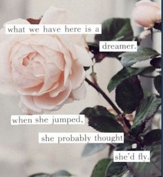 what we have here is a dreamer.......what we have here is a lover. And when she fell, she thought he would catch her