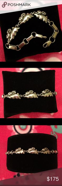 STERLING and 14K White Gold Rabbit Bracelet! The bracelet is truly one-of-a-kind! It is adorable and extremely well made. The bracelet was commissioned by me, and did not come from a box store or online. The three rabbits are solid, cast from 925 Sterling Silver, and the chain and lobster claw clasp are solid 14K White Gold - weighty and heavy. From smoke-free home. Stored with love and care, just as all the things I'm selling. No lowballing please, but I will definitely consider legitimate…