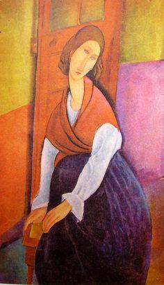 Jeanne Hébuterne davanti ad una porta è un dipinto ad olio su tela di cm 92 x 60 realizzato nel 1919 del pittore italiano #Amedeo #Modigliani. Fa parte di una collezione privata parigina.