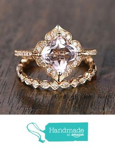 Cushion Morganite Engagement Ring Sets Pave Diamond Wedding 14K Yellow Gold 8mm from the Lord of Gem Rings https://www.amazon.com/dp/B01GS9C5AY/ref=hnd_sw_r_pi_dp_-IdwxbHHDJNZT #handmadeatamazon