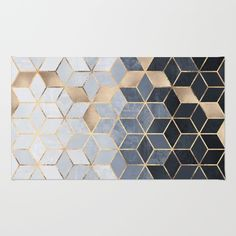 Soft Blue Gradient Cubes Welcome Mat by elisabethfredriksson Room Rugs, Area Rugs, Cuadros Diy, Gold Rooms, Gold Rug, Black Rug, Geometric Rug, Grey And Gold, Carpet Colors