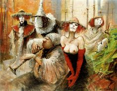 """MN Pajot """"Commedia"""" Tchn. mixte sur toile 50F 2000 Marcel, In The Flesh, Erotica, Les Oeuvres, Contemporary Art, Fantasy, Clowns, Gallery, Painting"""