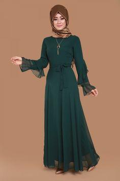Kolları Volanlı Şifon Elbise Zümrüt Ürün Kodu: BNM00176 --> 109.90 TL