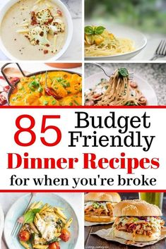 85 Frugal Meals You Can Make Even On A Small Budget - Here are 85 cheap meals on a budget! I love these budget-friendly meals. If you're looking to fee - Cheap Meals To Cook, Frugal Meals, Budget Meals, Frugal Recipes, Family Recipes, Easy Meals, Planning Budget, Meal Planning, Large Family Meals