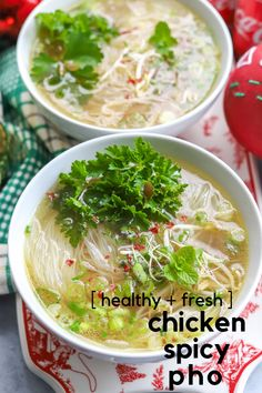 Warm up with this easy yet authentic tasting recipe for Chicken Spicy Pho using Rotisserie chicken. With fresh ingredients, this pho soup is ready in under 30 minutes making it healthy and the best option when you are limited on time. Pho Soup Recipe Chicken, Pho Soup Recipe Easy, Rotisserie Chicken Soup, Easy Soup Recipes, Easy Chicken Recipes, Asian Recipes, Vegetarian Recipes, Cooking Recipes, Vietnamese Recipes