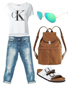 """""""Untitled #138"""" by juliffthegirl ❤ liked on Polyvore featuring Calvin Klein Jeans, Sans Souci, Birkenstock, Ray-Ban and BAGGU"""