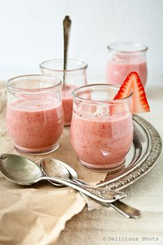 Delicious Shots: Chilled Strawberry and Coconut Milk Soup Shooters (appetizer) from The Recipe Girl Cookbook