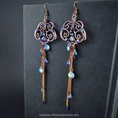 Wire Wrapped Earrings, Drop Earrings, Copper Wire, Wire Wrapping, Glass Beads, Polymer Clay, Handmade Jewelry, Blue, Art