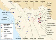 Localization of major and minor Medici villas in Tuscany