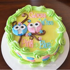 Owl Gender Reveal Cake www.trinitystreats.com