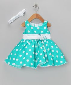Take a look at this Green Polka Dot Dress & Headband - Infant by Shanil on #zulily today!
