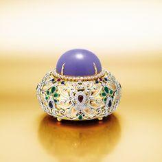 Important lavender jadeite and diamond pendant/ ornament