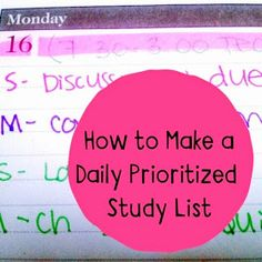 Organized Charm: How to Make a Daily Prioritized Study List. This blog has some amazing tips for organization, note-taking, and studying!