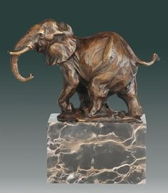 Bronze Elephant on Marble Base Statue available at AllScupltures.com