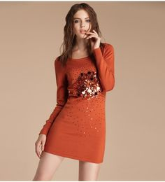 Beaded decorative knit cardigan dress  $66.05