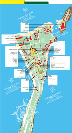 Map of downtown Isla Mujeres hotel locations.