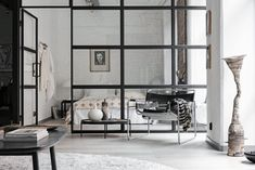 Scandinavian decoration and ideas. Livingroom and bedroom with a glass wall.