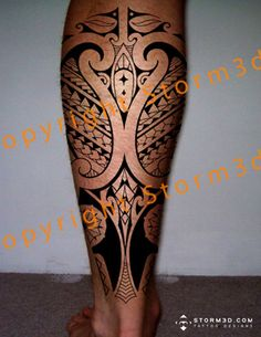 Polynesian tattoo for the calf with mixed Maori and Samoan patterns