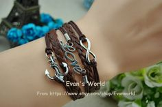 Infinity Love Anchors Bracelet Brown wax rope by Evanworld on Etsy, $3.99