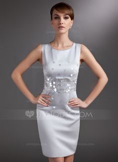Mother of the Bride Dresses - $128.99 - Sheath/Column Scoop Neck Knee-Length Satin Mother of the Bride Dress With Sequins (008006017) http://jjshouse.com/Sheath-Column-Scoop-Neck-Knee-Length-Satin-Mother-Of-The-Bride-Dress-With-Sequins-008006017-g6017