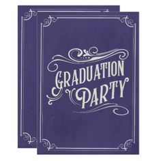 Blue Graduation Invitation Vintage Rustic - graduation party invitations card cards cyo grad celebration