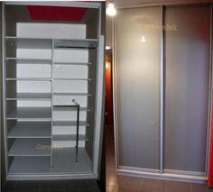 Lacobel szary na drzwiach i srebrnym okuciu z wnętrzem U112 popielatym - więcej zdjęć na http://Goryniak.pl