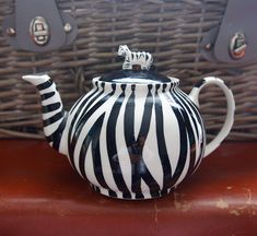 Wonderful, Vintage, 1990s, Ceramic, Hand painted, Zebra Stripes, Teapot, Zebra Figurine Lid, Animal Teapot Tea Pot.