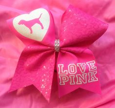 LOVE PINK NEON cheer bow by SarahsCheerBows on Etsy