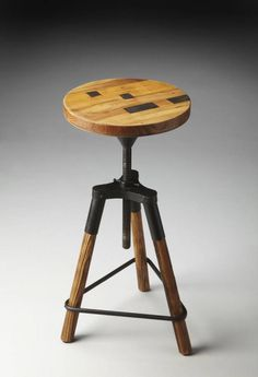 Industrial Chic Iron Recycled Wood Triangle Base Revolving Bar Stool