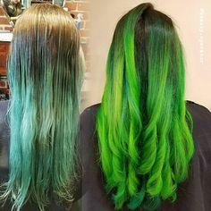 Green Goddess . #haircolor #nofilterhaircolor #creativehaircolor #pravana #olaplex #mermaidhair #unicornhair #neonhair #green #hairgoals #hairinspo #hairgram #instahair #loveyourhair #longhair #goodhair #transformation #behindthechair #hairstylist #bayareahairstylist #berkeley #elixirsalon #stylistssupportingstylists #1000orbust
