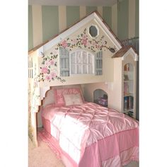 Customize the color, size, or painting style on this dollhouse theme loft bed. Girls Bedroom Canopy, Guest Bedrooms, Kids Bedroom, Bedroom Ideas, Playhouse Loft Bed, Princess Room, Bed Styling, New Room, Play Houses