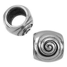10mm Swirl Round Leather Cord Slider - Antique Silver