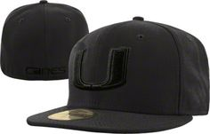 Miami Hurricanes Black New Era 59FIFTY Black on Black Fitted Hat