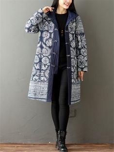 Gracila Vintage Printed Long Sleeve Thicken Women Hooded Coats
