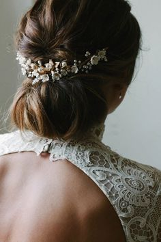 SOMERSET delicate floral bridal headpiece gold bridal hair