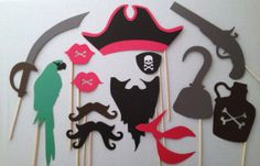 13Piece Pirate Photo Booth Prop Set  Pirate by CleverMarten, $16.00