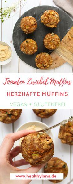 Lange Zeit hatte ich ein eher zwiespältiges Verhältnis zu herzhaften Muffins – Muffins müssen schließlich süß sein, oder? Zum Glück hat mich dieses Rezept für Tomaten Zwiebel Muffins endlich überzeugt, dass ich öfter mal zu der würzigen Variante greifen sollte. Auch zum Frühstücken sind sie nämlich super! Die Muffins sind vegan, glutenfrei, fettarm & ohne Soja. Das Rezept gibt es jetzt neu auf healthylena.de :) #vegan #veganerezepte #rezept #glutenfrei #fettarm #ohnesoja