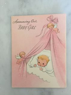 SHIPS FREE UNUSED Vintage 1950's Birth Announcement Card & Envelope Baby Girl American Greetings Pink Card Cherubs Collectible Ephemera by Samanthasunshineshop on Etsy