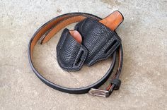Sharkskin concealed carry holster for a compact 1911 45. Fully lined holster and magazine pouch and double layer gun belt. Concealment Holsters, Concealed Carry Holsters, Compact, Gun, Etsy Seller, Pouch, Magazine, Belt, Trending Outfits