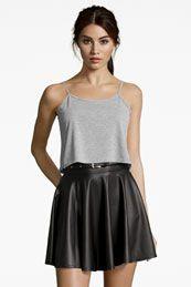 Jules Leather Look Skater Skirt