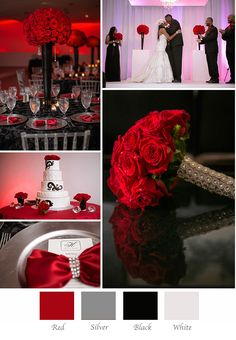 how to choose your wedding colors Create a dramatic wedding to be remembered with red, black, silver, and white White Silver Wedding, Black Red Wedding, Wedding Ideas With Red, Trendy Wedding, Our Wedding, Dream Wedding, Geek Wedding, Dallas Wedding, Black People Weddings