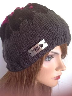 Beanie Slouch Hat Hand Knit Follow Your Heart Silver Designe Fashion Hip Winte   | eBay