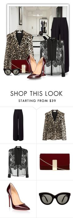"""""""Dazzles"""" by sjkfavorites ❤ liked on Polyvore featuring Miss Selfridge, STELLA McCARTNEY, Givenchy, Dorothy Perkins, Christian Louboutin, Victoria Beckham, leopard, blouse, polyvoreeditorial and thefashioncloset"""
