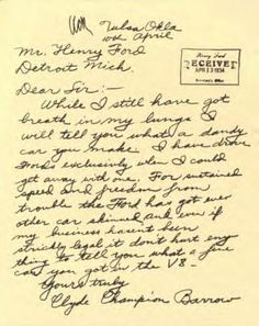 Letter Clyde Barrow wrote to Henry Ford