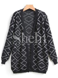 Black Long Sleeve Diamond Cardigan Sweater -SheIn(Sheinside) von Korallmaedchen…