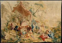 François Boucher (French, 1703–1770). The Charlatan and the Peep Show from a set of the Italian Village Scenes, designed 1734–36, woven in 1762. French, Beauvais. The Metropolitan Museum of Art, New York. Gift of Mary Ann Robertson, 1964 (64.145.1) | This design depicts the carefree, chaotic pleasure of dubious pastimes.
